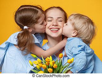 פרוח, צבע, אמא, אמא, day., מושג, רקע, ילדים