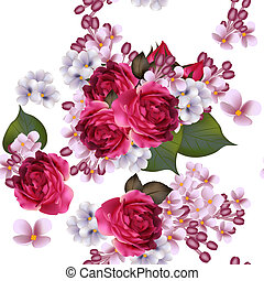 פרחוני, וקטור, seamless, טפט, עם, לילך, פרחים, ו, ורדים