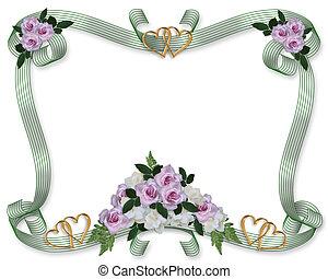 פרחוני, ורדים, חתונה, גבול, הזמנה