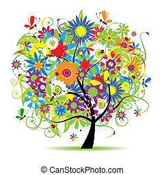 פרחוני, יפה, עץ