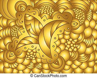 פרחוני, תקציר, קישוט, רקע, זהב
