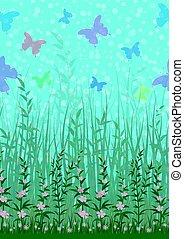 פרחים, דשא, פרפר