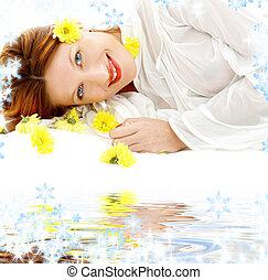 פרחים, חול, לבן, צהוב, יופי