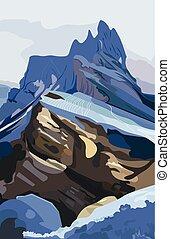 פרט, הרים, vector., טבע, סביבות, דוגמה, רקע, גבעות