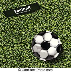 פרט, כדור, רקע, כדורגל, מציאותי, ירוק, vector., דוגמות, דשא, 3d