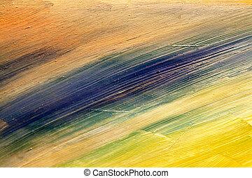 פרט, מ, painting., שמן, ב, אריג גס