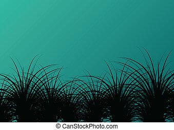 פרט, צללית, פוסטר, דוגמה, וקטור, רקע, דשא, נוף