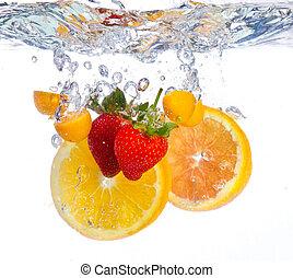 פרי, לפול, לתוך, השקה