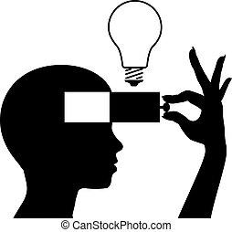 פתוח, a, מוח, ללמוד, רעיון חדש, חינוך