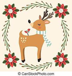 צבי, צפור, חג המולד