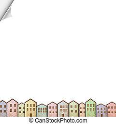 צבעוני, בתים, בלבן, נייר