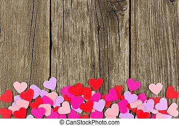צבעוני, נייר, יום של ולנטיינים, לבבות, ליצור, a, קרקע, גבול, נגד, פשוט, עץ