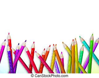 צבעוני, עפרון, עפרוני צבע, ב, white., פלוס, eps10