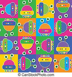 צבעוני, רובוטים, אוסף, תבנית