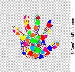 צבעוני, תבנית, ilhouette, האנדפרינט, העבר, תינוק