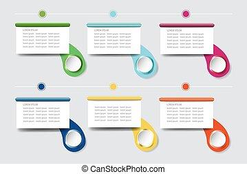 צבעוני, infograph, קצוות, טקסט, טופס, מוכן, מלבנים, שלך