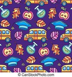 צבעוני, seamless, וקטור, pattern., בית ספר