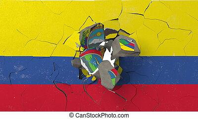 צבע, השבה, קיר, לשבור, ecuador., אכאאדוריאן, דגלל, קונצפטואלי, משבר, 3d