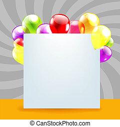 צבע, יום הולדת, בלונים, יום, כרטיס, שמח