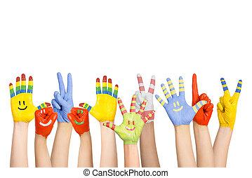צבע, ילדים, ידיים