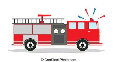 צבע, פטר משאית, עם, סירנה, דירה, design., וקטור, illustration.