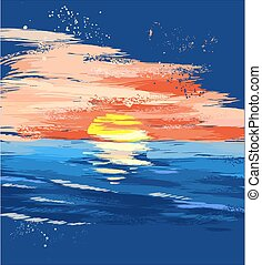 צבע, שקיעה, ים