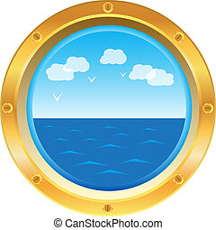 צהוב, אשקף, חלון, עם, השקפה של ים