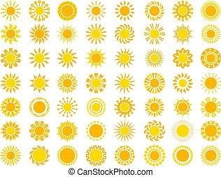 צהוב, וקטור, collection., טבע, איקון, עלית שמש, שמש, סגנן, סמלים
