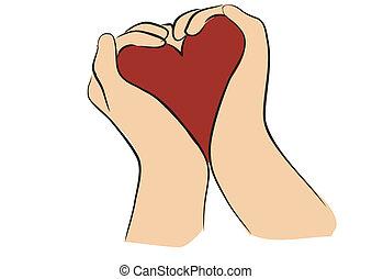 צורה של לב, ידיים