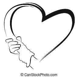 צורה של לב, להחזיק ידיים