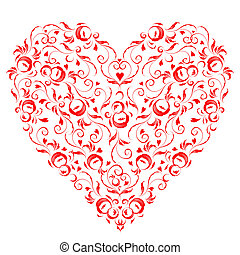 צורה של לב, פרחוני, קישוט, ל, שלך, עצב