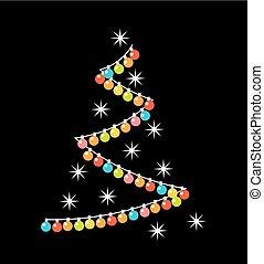 צורה של עץ של חג המולד, עם, צבעוני, אורות