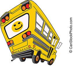 ציור היתולי, אוטובוס, בית ספר