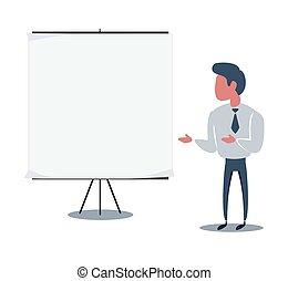 ציור היתולי, פורמלי, אופי, יפה, מנהל, להחזיק, להצביע, חמוד, טופס, text., התאם, -, דף, it., שלך, businessman., דפוסית