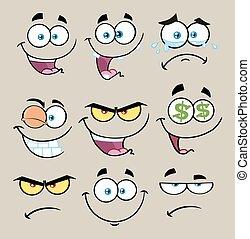 ציור היתולי, פנים מצחיקות, עם, ביטוי, קבע, 1., אוסף