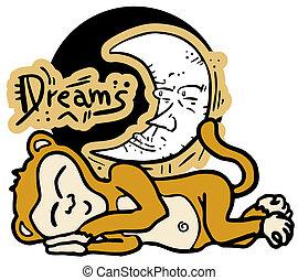 ציור, חולם, קוף