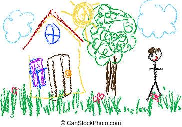 ציור, עפרון צבע, פרוע, נפלא, ילדים