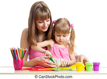 צייר, חתוך, ילד, ביחד, אמא