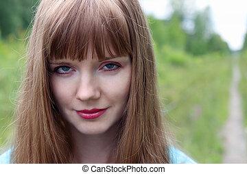 צילום מקרוב, דמות, של, לחייך, יפה, אישה צעירה, ב, יום של קיץ