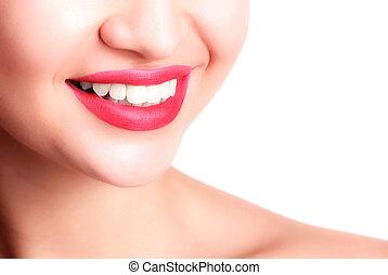צילום מקרוב, של, חייך, עם, לבן, שיניים בריאים