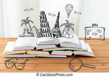 צילום מקרוב, של, ספרים, ב, שולחן, עם, ציוני דרך, doodles