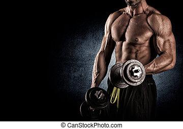 צילום מקרוב, של, a, שרירי, איש צעיר, להרים משקלות