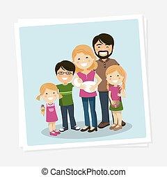 צילום של משפחה, שלושה ילדים, babyborn, הורים, שמח