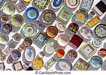 צלחות, של, שונה, צבעים, הדבק, ב, הקיר, אלגארו, פורטוגל