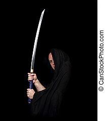 צללים, לוחם, חרב, להחזיק, סאמאראי