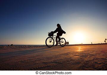 צללית, אופנוען, שקיעה, רכוב, דרך, החף