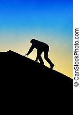 צללית, של, איש מטפס, ל, הציין, של, a, הר