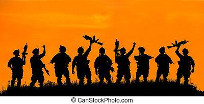צללית, של, צבא, חייל, או, קצין, עם, נשקים, ב, sunset.