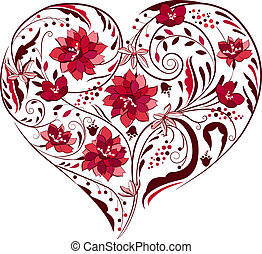 צמחים, צורה של לב, שחור, פרחים לבנים