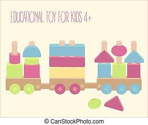 צעצוע מעץ, אלף, עם, צבעוני, מיכשולים, הפרד, מעל, לבן